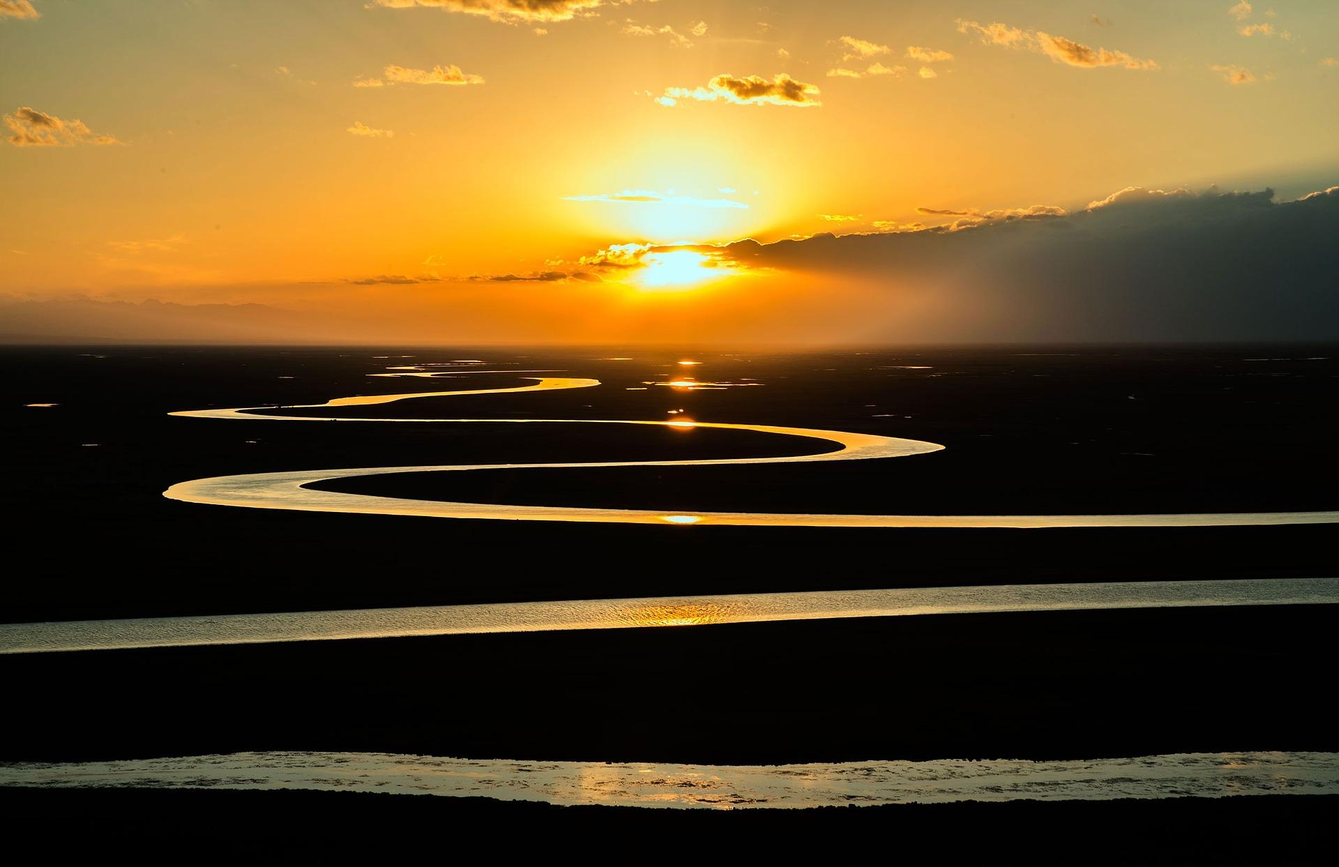 sonnenaufgang, weg, fluss, pixabay