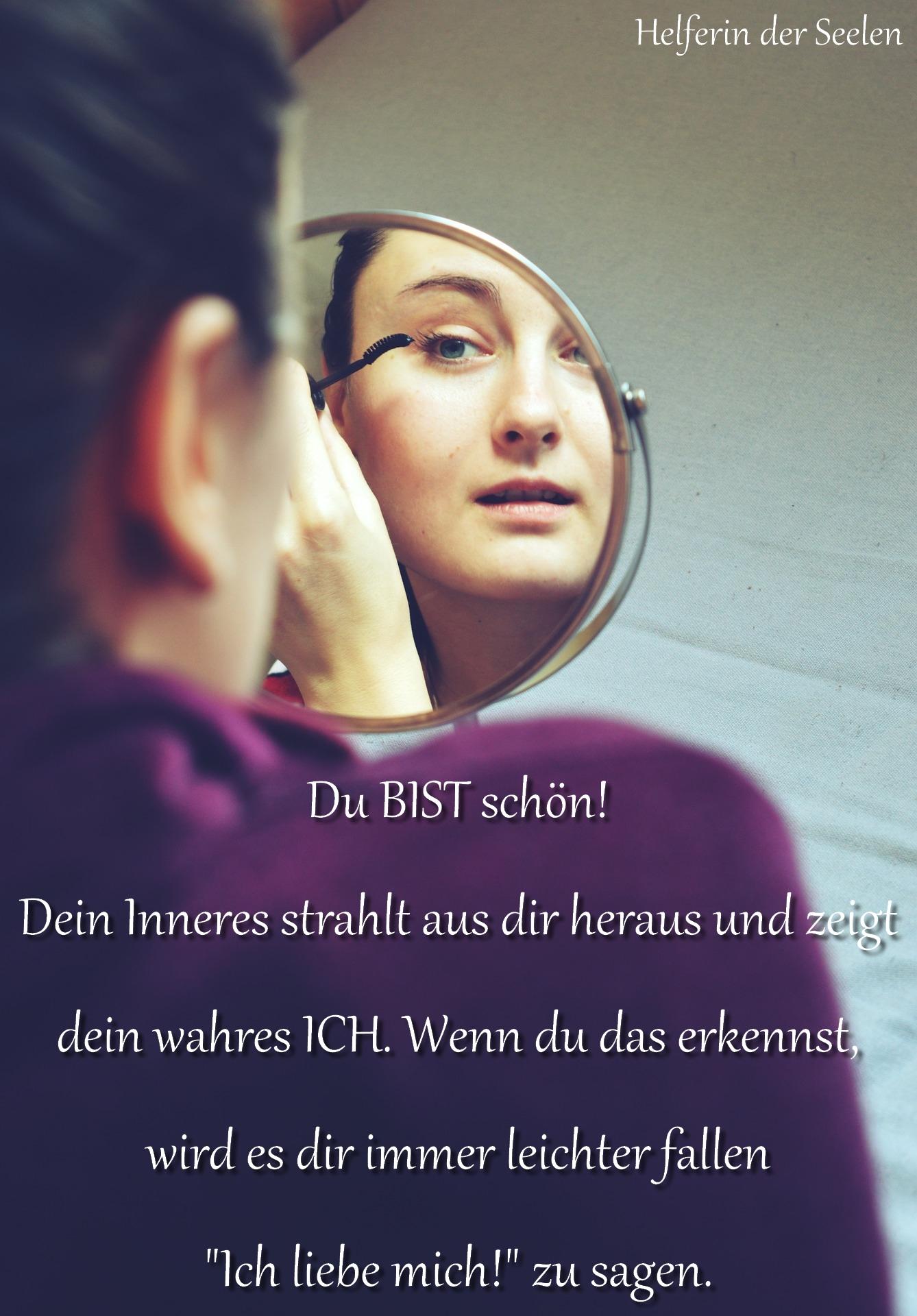 Spiegel Frau Schönheit pixabay Text